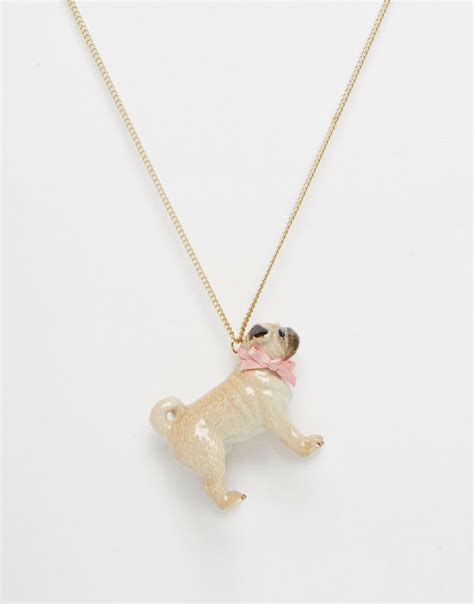 pug necklace uk and and boxed pug necklace gift at asos