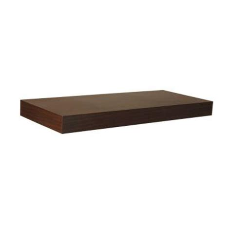 home depot wall shelving home decorators collection 23 6 in w x 10 2 in d x 2 in h espresso mdf floating shelf 9084620