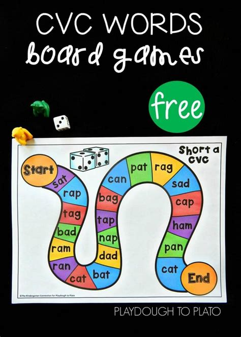 printable cvc games for kindergarten free cvc word board games playdough to plato