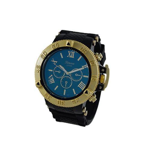 blue gold bezel rubber sports gold bling