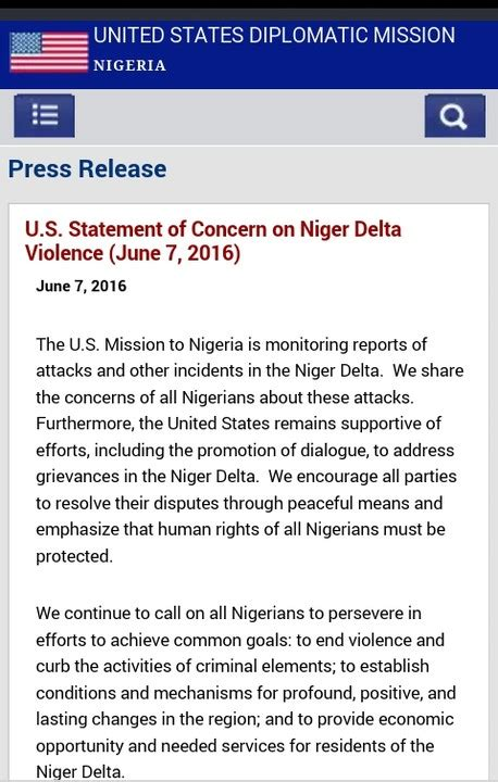 read u s statement of concern on niger delta violence