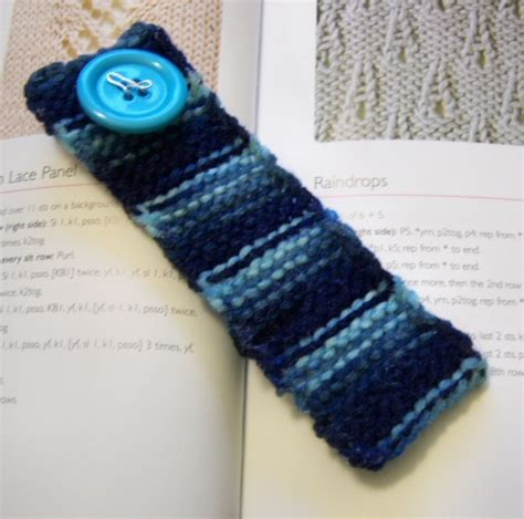 knitted bookmarks stiff knit bookmark signature blue by millyandnans knitting