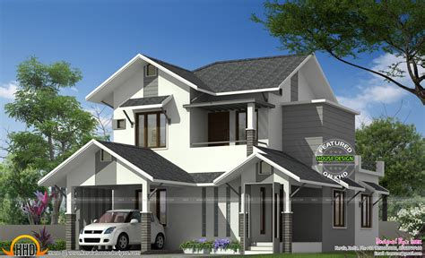 kerala sloped roof home design sloping roof house in kerala keralahousedesigns