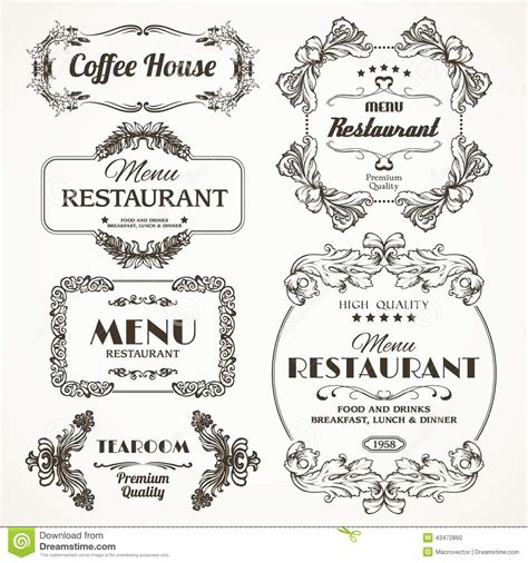 Victorian House Plans Free floral restaurant frames stock vector image 43472860