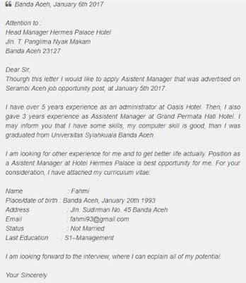 Contoh Surat Lamaran Ristekdikti by Contoh Surat Lamaran Kerja Dalam Bahasa Inggris Yang Baik