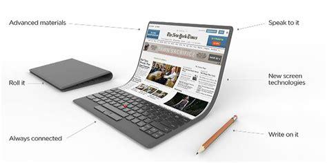 on laptop lenovo s bendable laptop concept photo