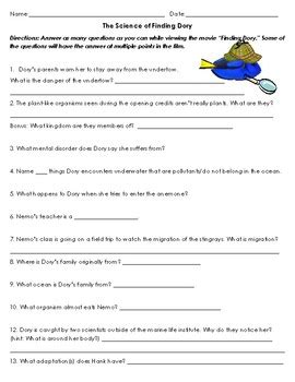 Finding Nemo Worksheet Answers