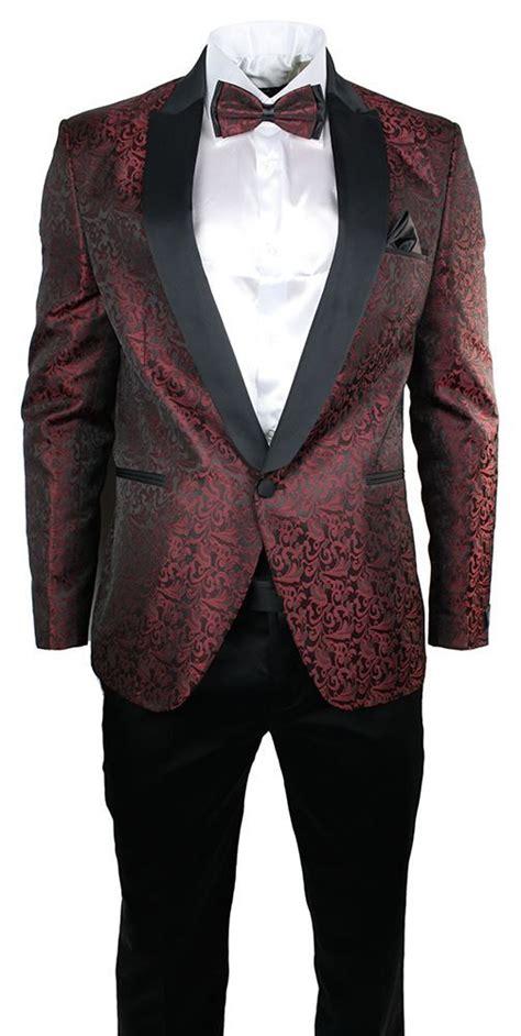 wine color tuxedo mens maroon wine black paisley pattern suit tuxedo wedding
