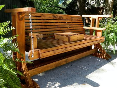 Wooden Bench Swing Sets 5ft Handmade Southern Style Wood Porch Glider Patio Glider