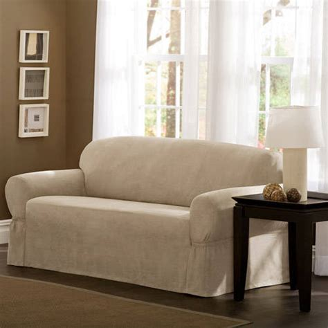 sofa and loveseat covers at walmart mainstays faux suede loveseat slipcover walmart com