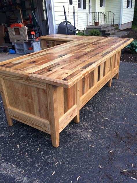 L Made by Pallets Wood Made Big Office Table Pallet Ideas