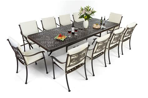 patio tables and chairs outside edge garden furniture the versatile extendable 12 seater cast aluminium
