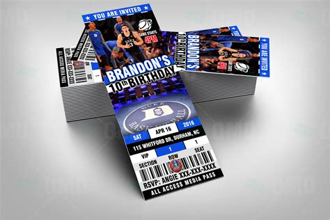 blue devils duke sports ticket style party invites