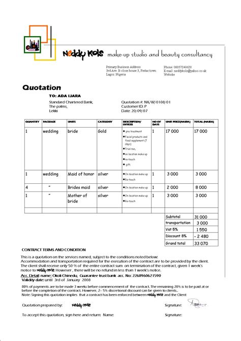 Quotation Template Neddykols S Weblog Manufacturing Terms And Conditions Template