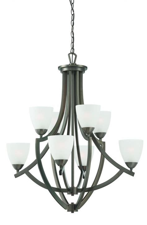 Modern Bronze Chandelier Modern Metal Bronze Chandelier Gt 159 00 Etched Glass Shades Eights Lights
