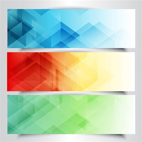 design free collection of modern banners with in low poly design vector free