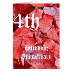4th wedding anniversary card hydranga zazzle