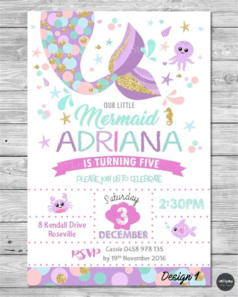 mermaid birthday invitation template mermaid invitations invite 1st birthday