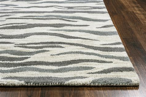 gray zebra rug valintino abstract zebra wool area rug in light gray blue 8 x 10