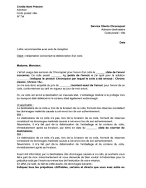 Free Mobile Lettre De Réclamation Lettre De R 233 Clamation Aupr 232 S De Chronopost Pour D 233 Gradation D Un Colis Mod 232 Le De Lettre