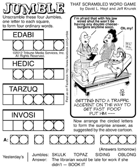 printable jumble games 7 best images of printable jumble puzzles with comics