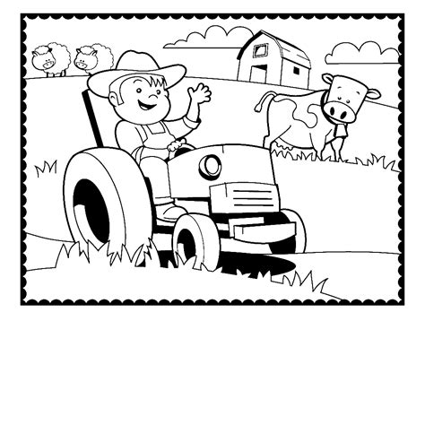 farmer coloring pages farmer on his tractor surrounded by their farm animals