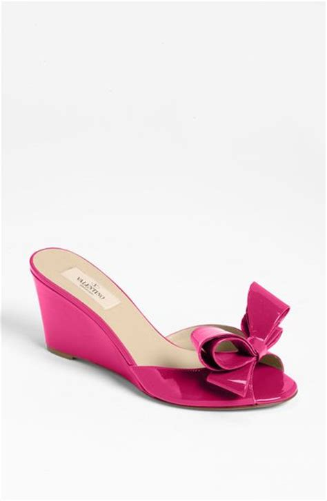 Sandal Bow Pink by Valentino Bow Wedge Sandal In Pink Fuchsia Lyst