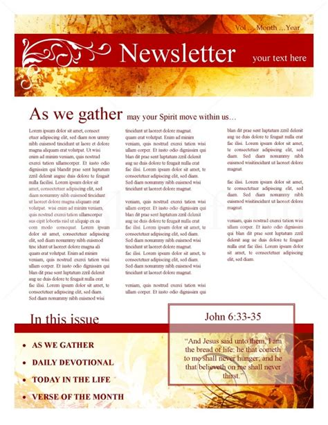 ministry newsletter for fall template newsletter templates
