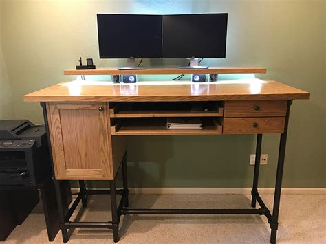 diy pipe standing desk with drawer storage simplified