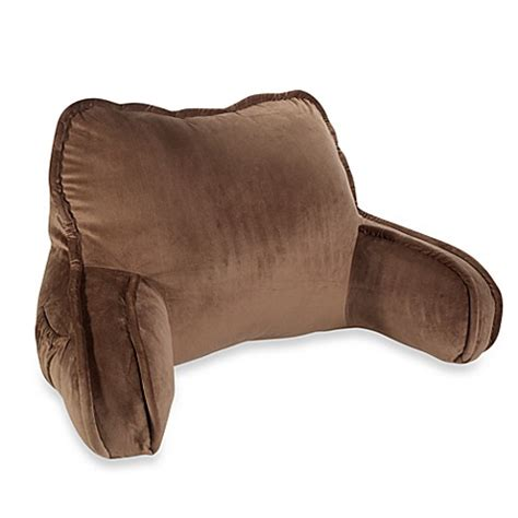 pillow sitting up in bed plush backrest pillow in chocolate bed bath beyond