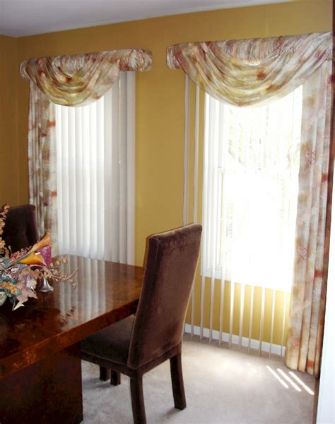 Swag Drapery Ideas Soften Up Those Vertical Blinds 187 Susan S Designs