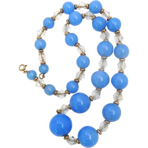 Crystall Glasses Blue Necklace gf periwinkle blue glass bead necklace on chain from bejewelled on ruby