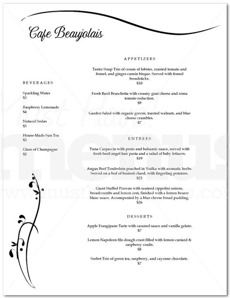 black and white menu graceful black and white menu page 1