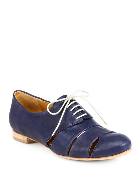 cutout oxford shoes coclico ishiro leather cutout oxfords in blue navy lyst