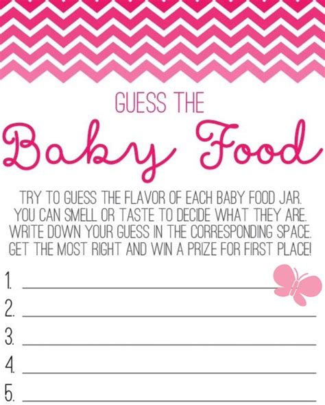 baby food guessing template butterfly guess the baby food sheet baby shower