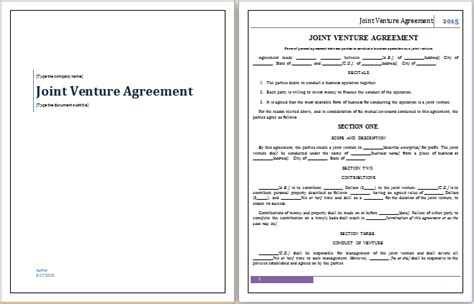 free sle joint venture agreement template free sle joint venture agreement template doc 658423 word