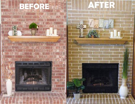 cheap easy fireplace makeover concrete stain  rid   ugly red brick fireplace  white