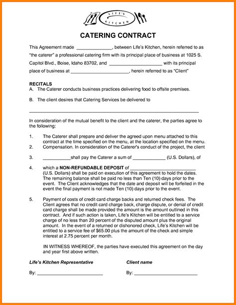 catering contract templates contract photos of catering contract template catering