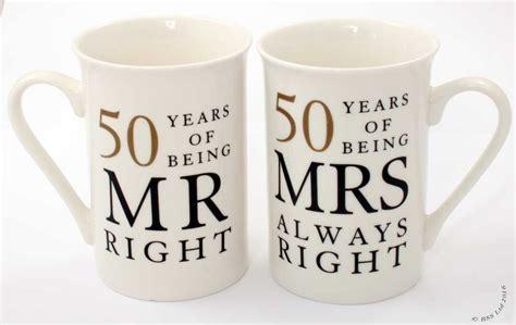 Wedding Anniversary Gift Mug by 50th Anniversary Gift Set Pair Of China Mugs Mr Right