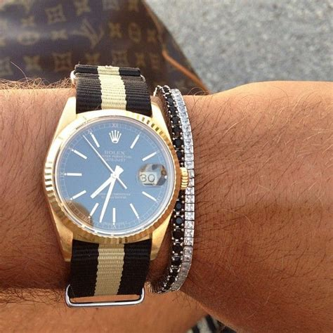 stunning rolex datejust 18k gold on a nato 16238
