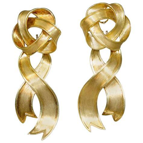 Gold Ribbon Earring boris lebeau gold ribbon motif earrings at 1stdibs