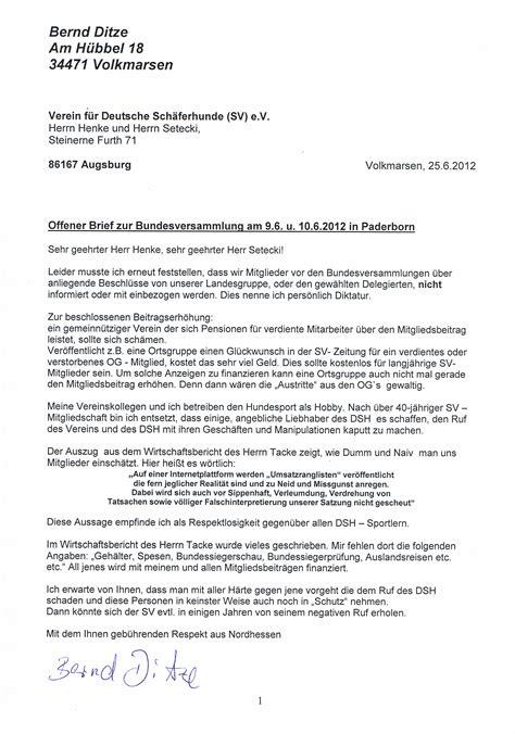 Deutschland Brief Beispiel Offener Brief 25 06 2012 Verein F 252 R Deutsche Sch 228 Ferhunde