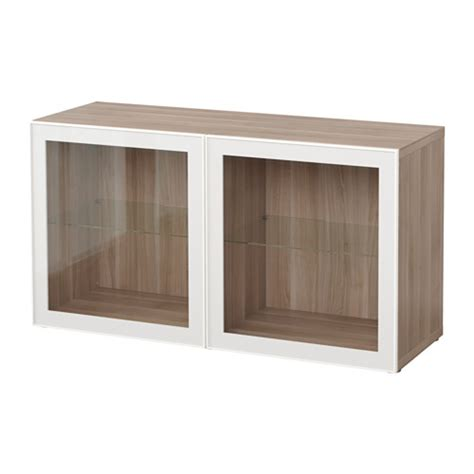 besta glas best 197 shelf unit with glass doors walnut effect light