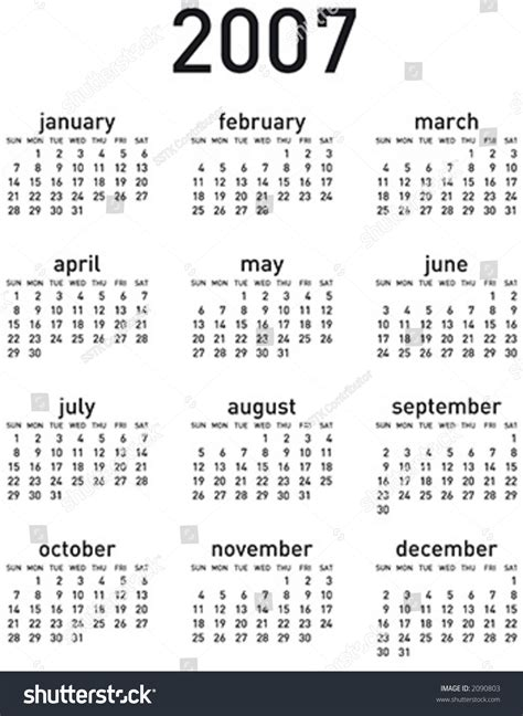 Calendar For 2007 Simple 2007 Calendar Vertical Layout Vector Format Can