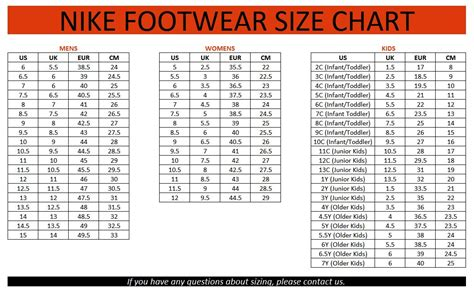 nike shoe size chart nike basketball shoes size chart