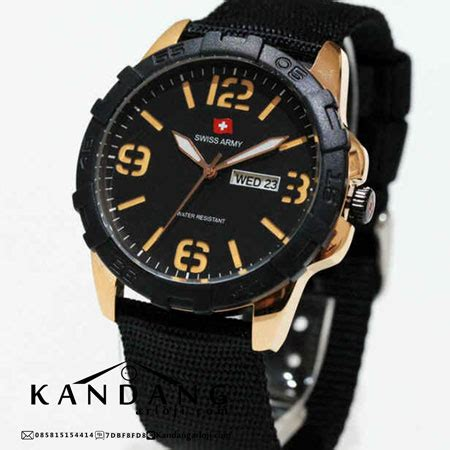 Swiss Army 1179 Black Kanvas swiss army sa 1179 kalep kanvas original gold jam tangan