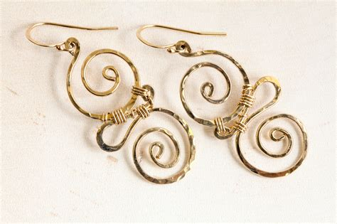 Handcrafted Gold Earrings - whimsy rustic handcrafted spiral earrings hammered