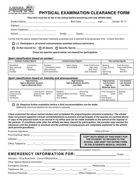 sports physical medical history form mhsaa athletic physical forms