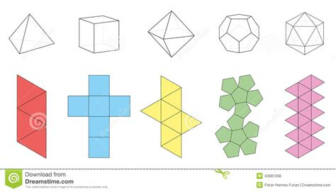 three dimensional shapes templates platonic solids figures nets stock vector image 43681098