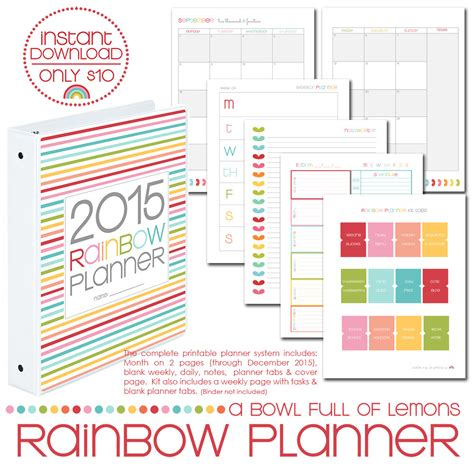 printable day planner pages 2015 launch day of the 2015 rainbow planner printables